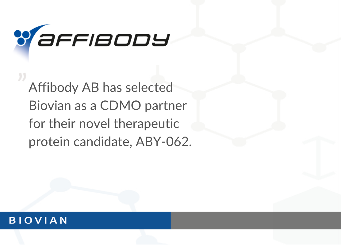 Affibody selected Biovian as a CDMO partner for ABY-062