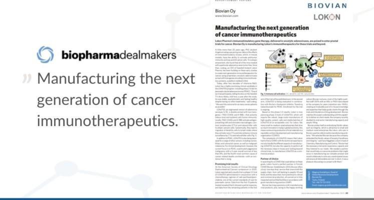 Lokon and Biovian in Biopharma Dealmakers latest issue